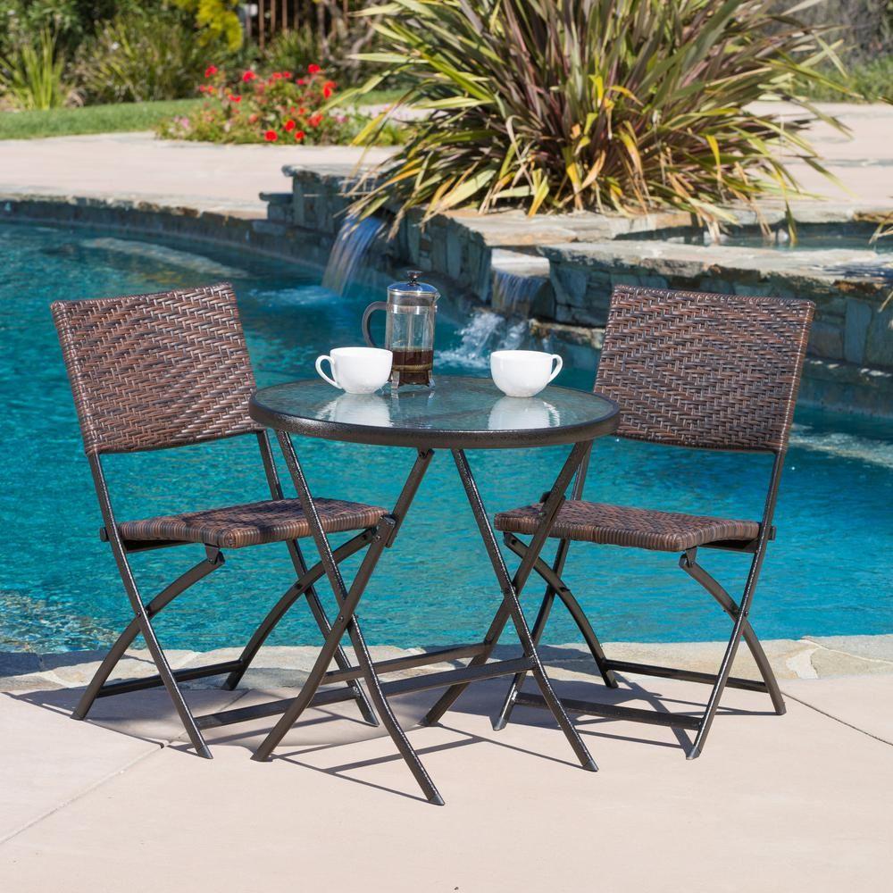 Noble House El Paso Multi Brown 3 Piece Wicker Outdoor Dining Set