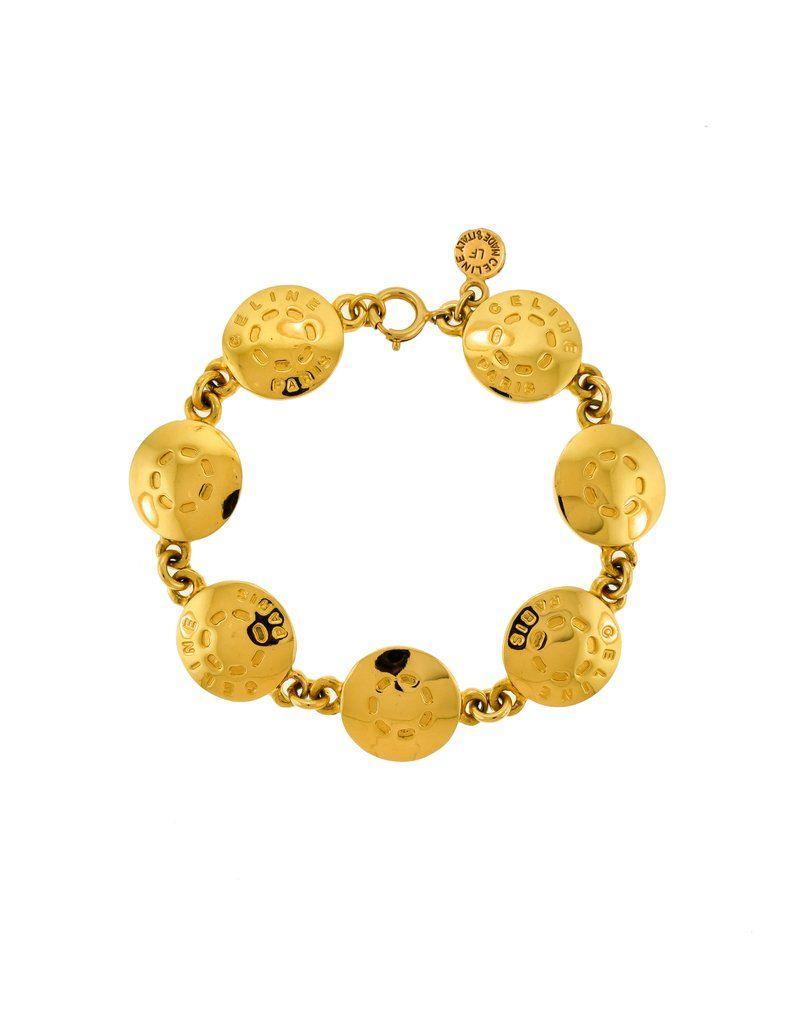 Celine Vintage Gold Button Motif Bracelet Gold Buttons Vintage Gold Gold