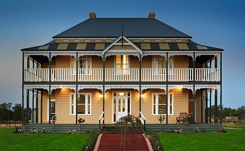 Hark away homes two story victorian weatherboard home for Double storey victorian homes