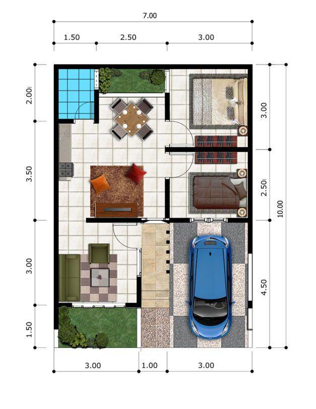 denah rumah tipe 45 dengan taman belakang   Denah rumah, Desain rumah, The plan