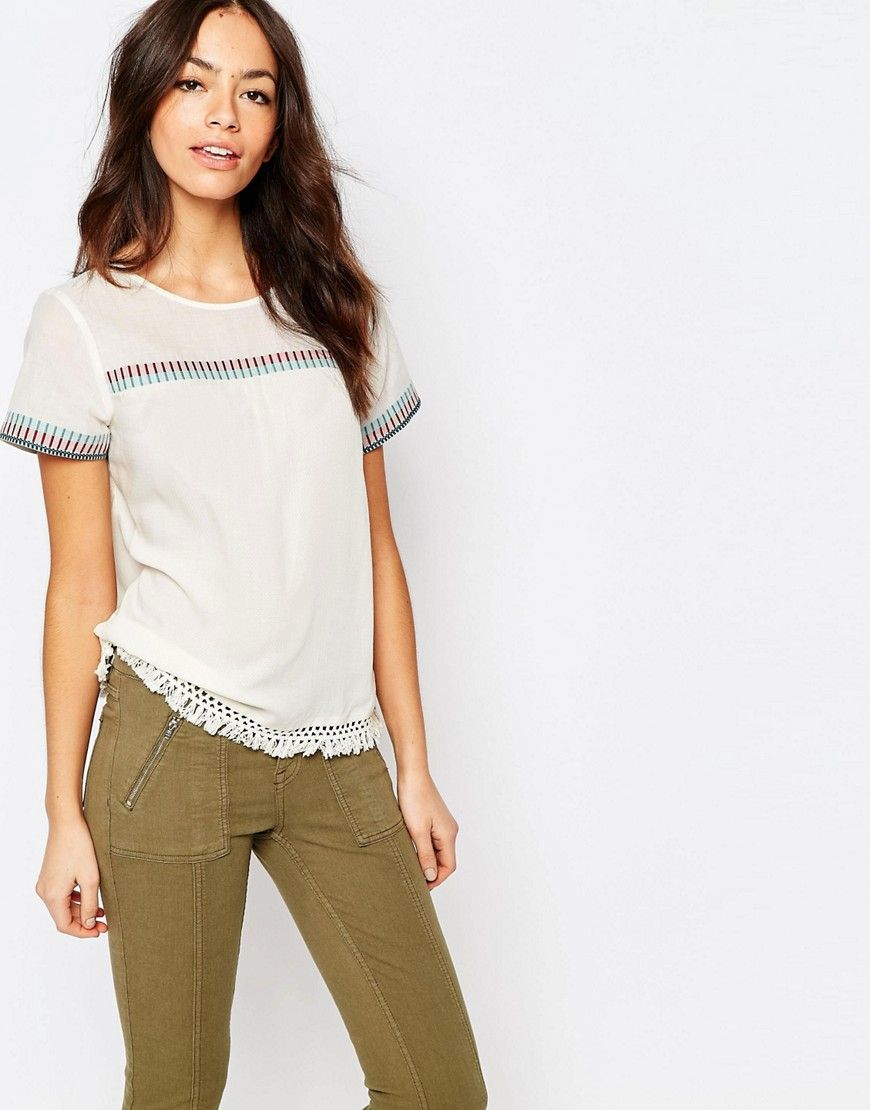 Image 1 ofEsprit Embrodiered Folk Shell Top