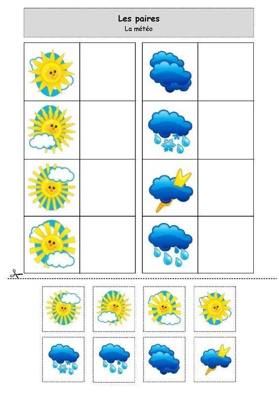 Les paires : la météo | Jeux maternelle, Météo maternelle ...