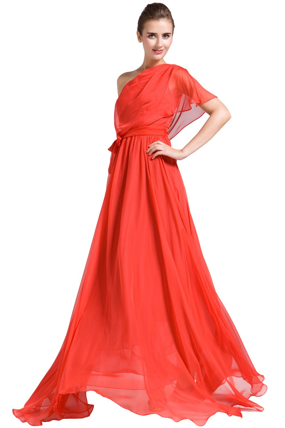 Draped One Shoulder Evening Gown With Sash #luxyapparel #Dress ...