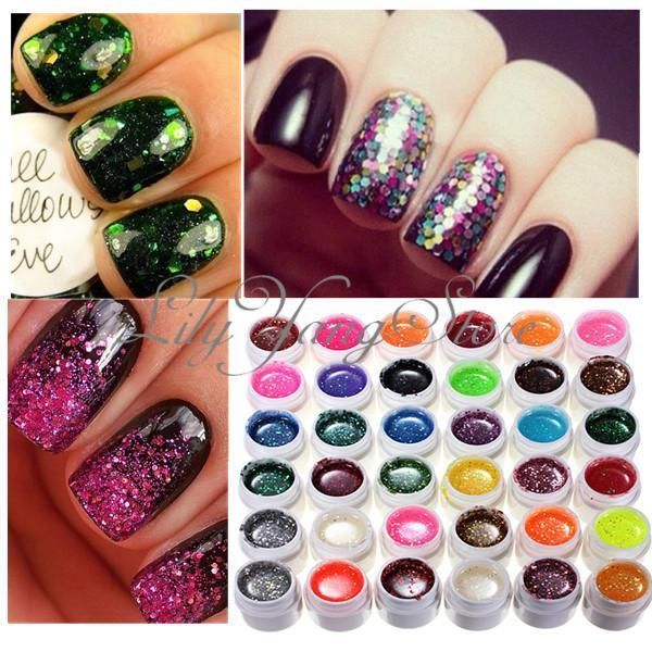 36 Glitter Mix Color UV Gel Acrylic Builder Polish Set for Nail Art ...