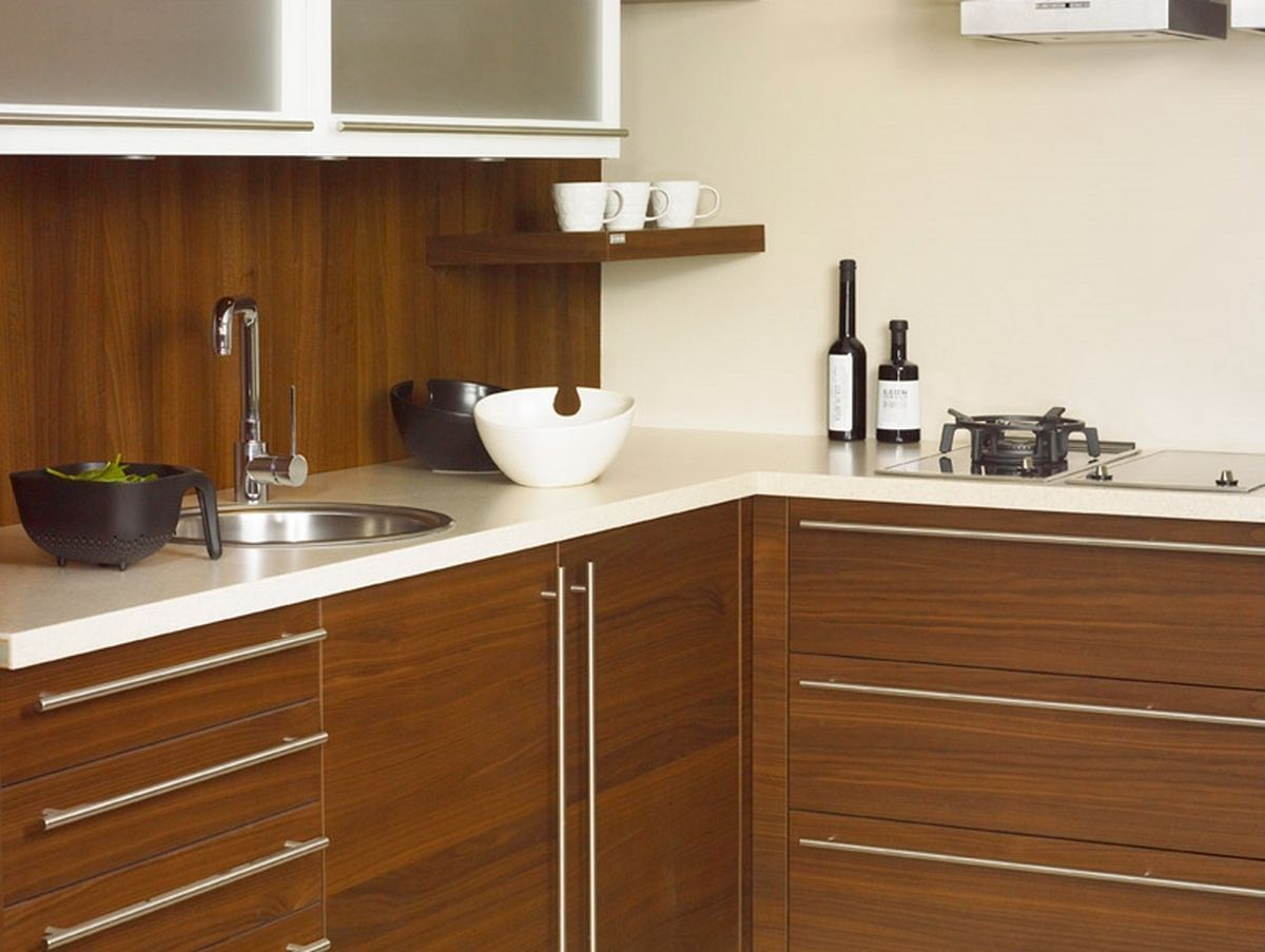 white and brown traditional kitchen with solid surface counter