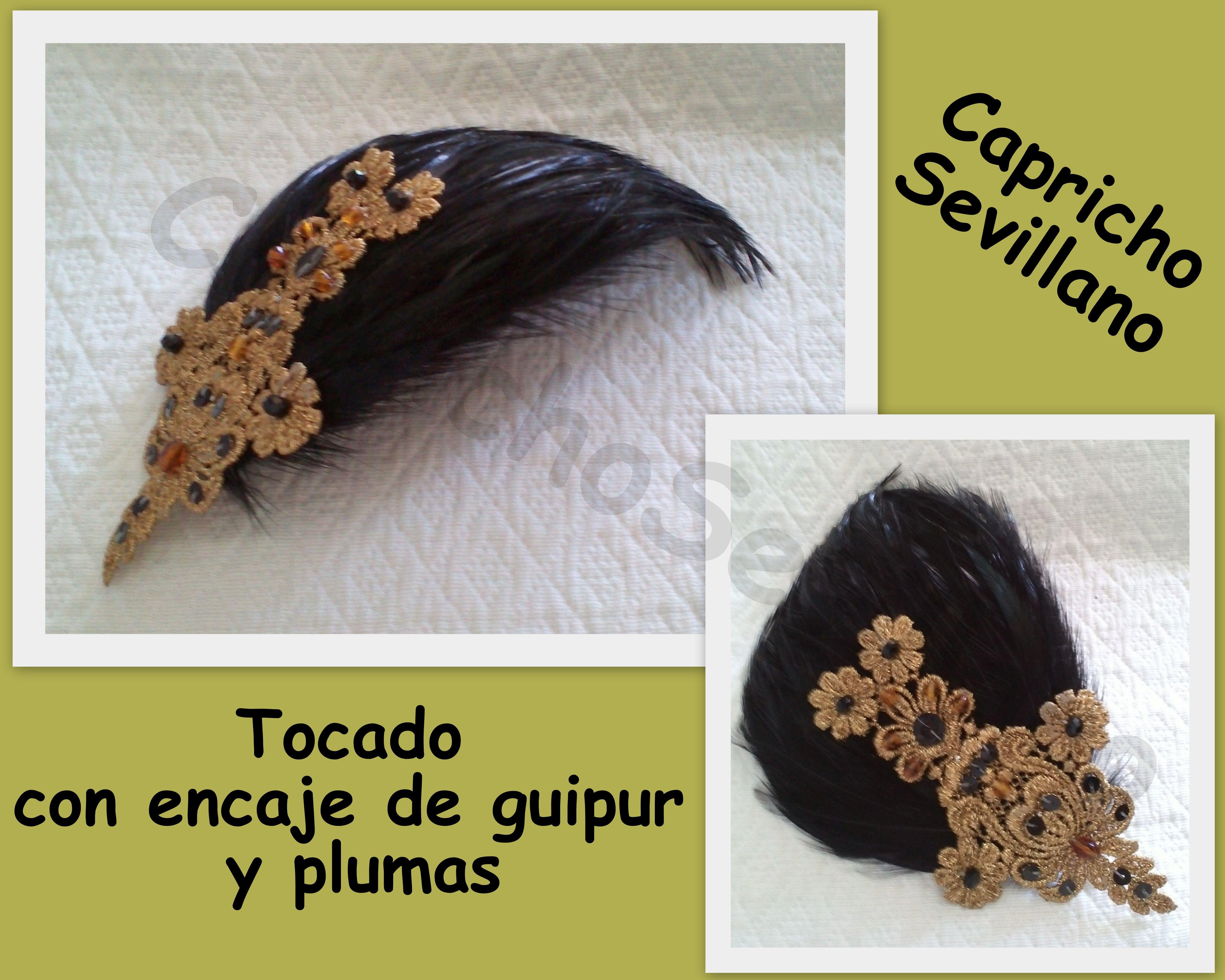 tocado guipur dorado y plumas- capricho sevillano