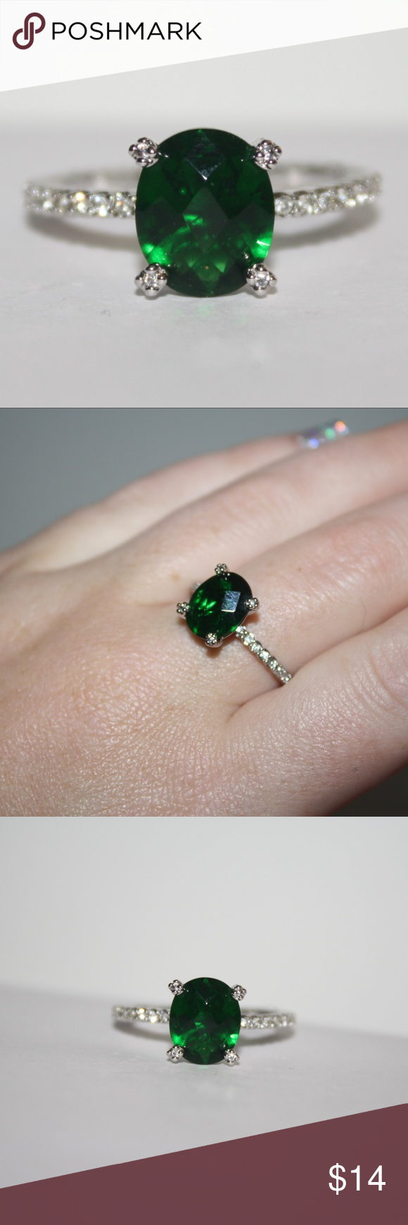 Stunning Silver and Emerald CZ ring size 10.5 This is a