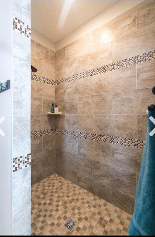 12x24 Maurizzo Beige Shower Floor Mosaic Capri Accent