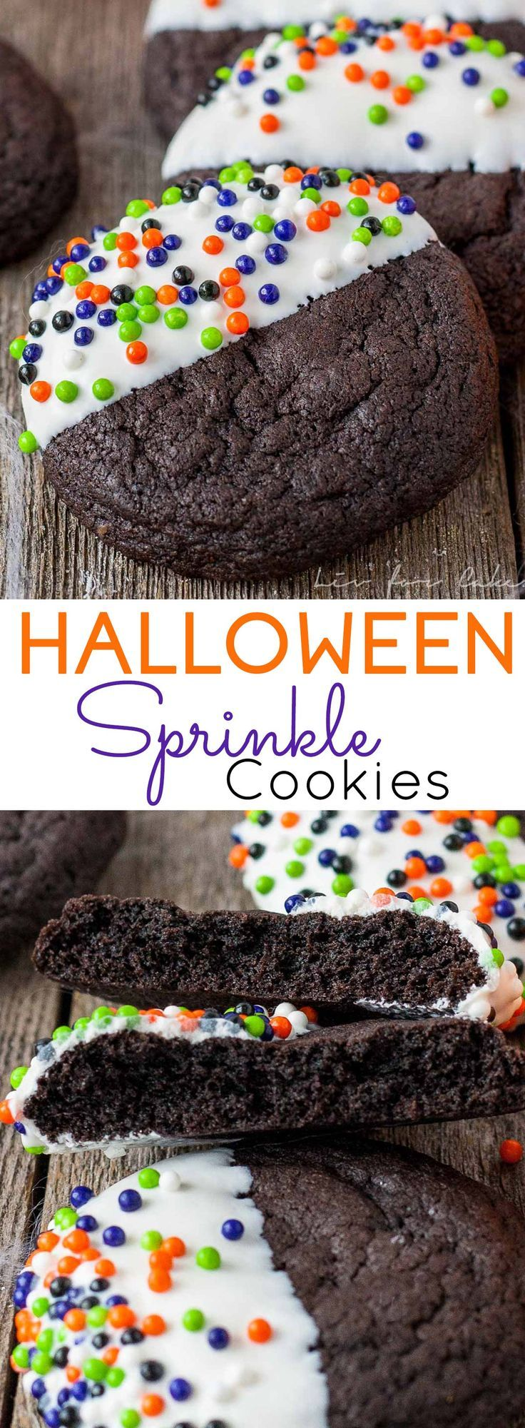These easy Halloween Sprinkle Cookies are the perfect addition to your Halloween festivities! | livforcake.com #halloweencookies