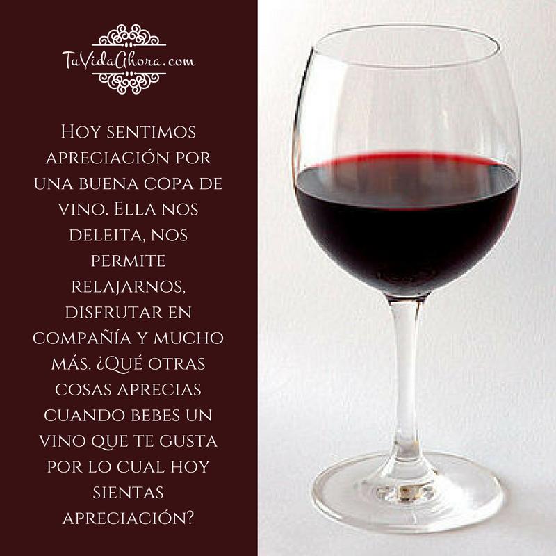 ¿Qué otras cosas aprecias cuando bebes un vino que te gusta por lo cual hoy sientas apreciación? #agradecimiento #AbrahamHicks #apreciación @edithsomo7
