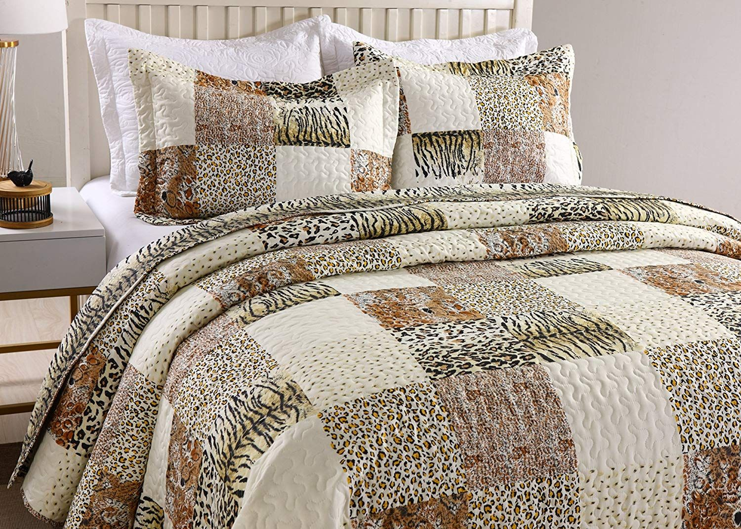 Marcielo 3 Piece Quilted Bedspread Leopard Print Quilt Quilt Set Bedding Throw Blanket Coverlet Quilt Sets Bedding Coverlet Bedroom Print Bedding