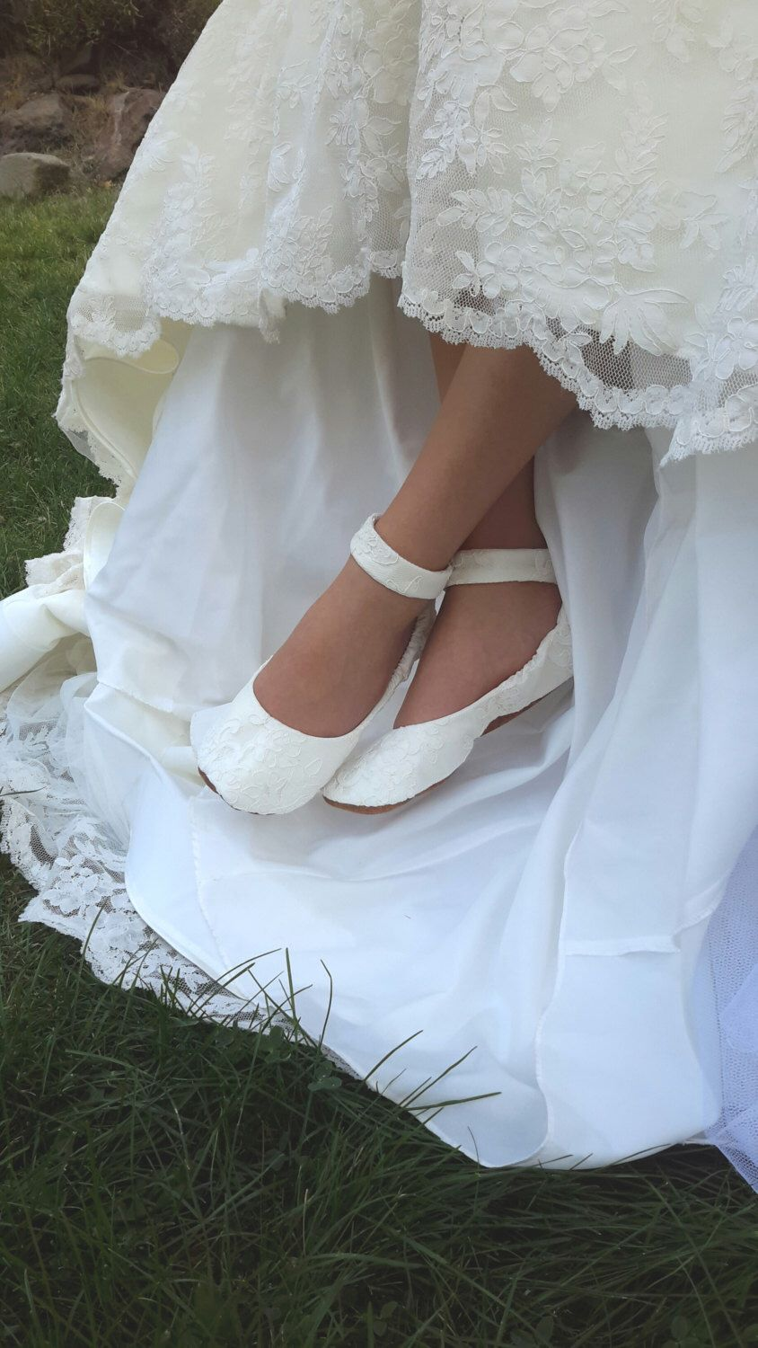 Lace Wedding Shoes with Ankle Strap, Flat Wedding  Shoe, Lace Wedding Shoe, Lace  Bridal Flat Shoe, Bridal Flat Shoe, Ivory Bridal Flat by HopefullyRomantic on Etsy https://www.etsy.com/listing/248370942/lace-wedding-shoes-with-ankle-strap-flat