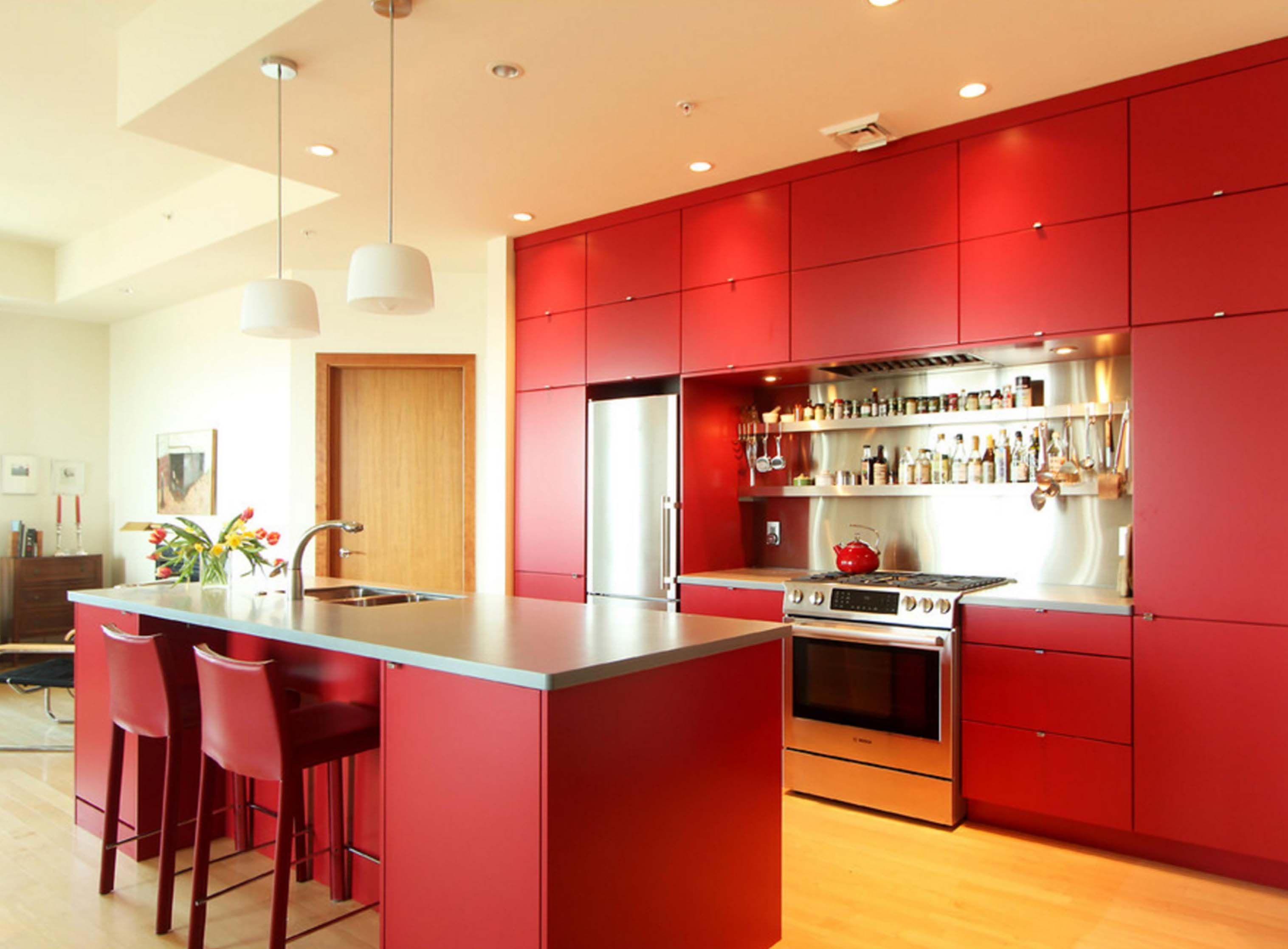 red woodmode kitchen with collaborative design by denise quade