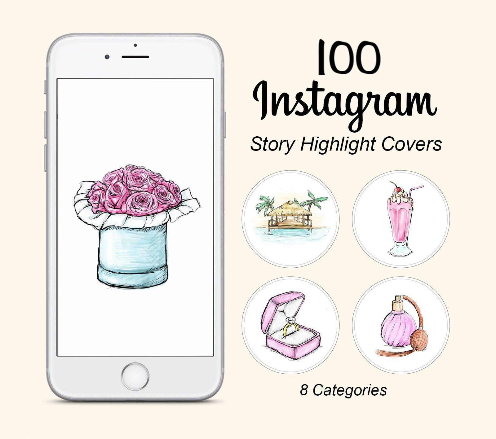 Beauty Fashion Food: 100 Instagram Story Highlight Icons, Watercolor Story