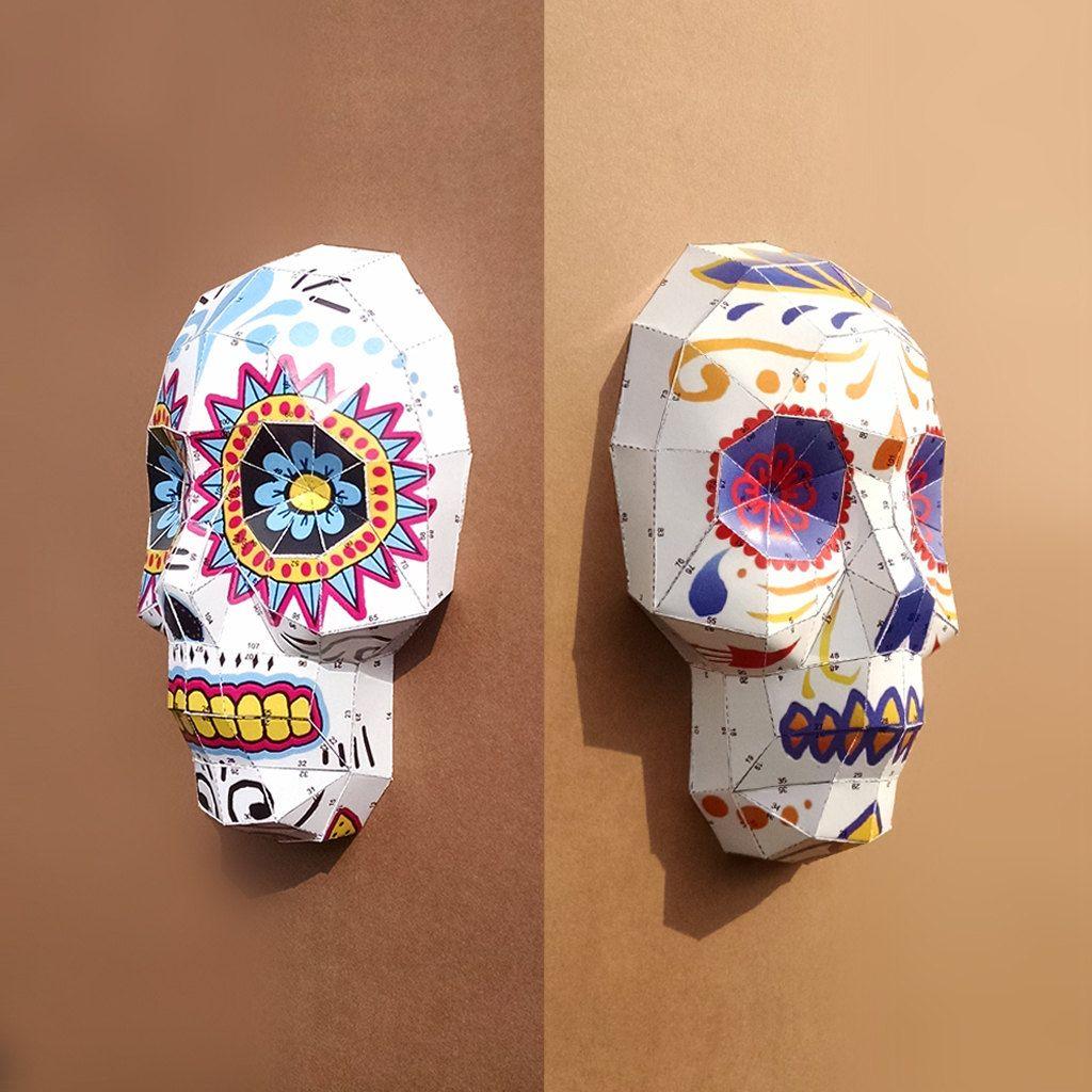 Sugar Skulls Diy Papercraft Templates 200 Usd By Lowpolypaper