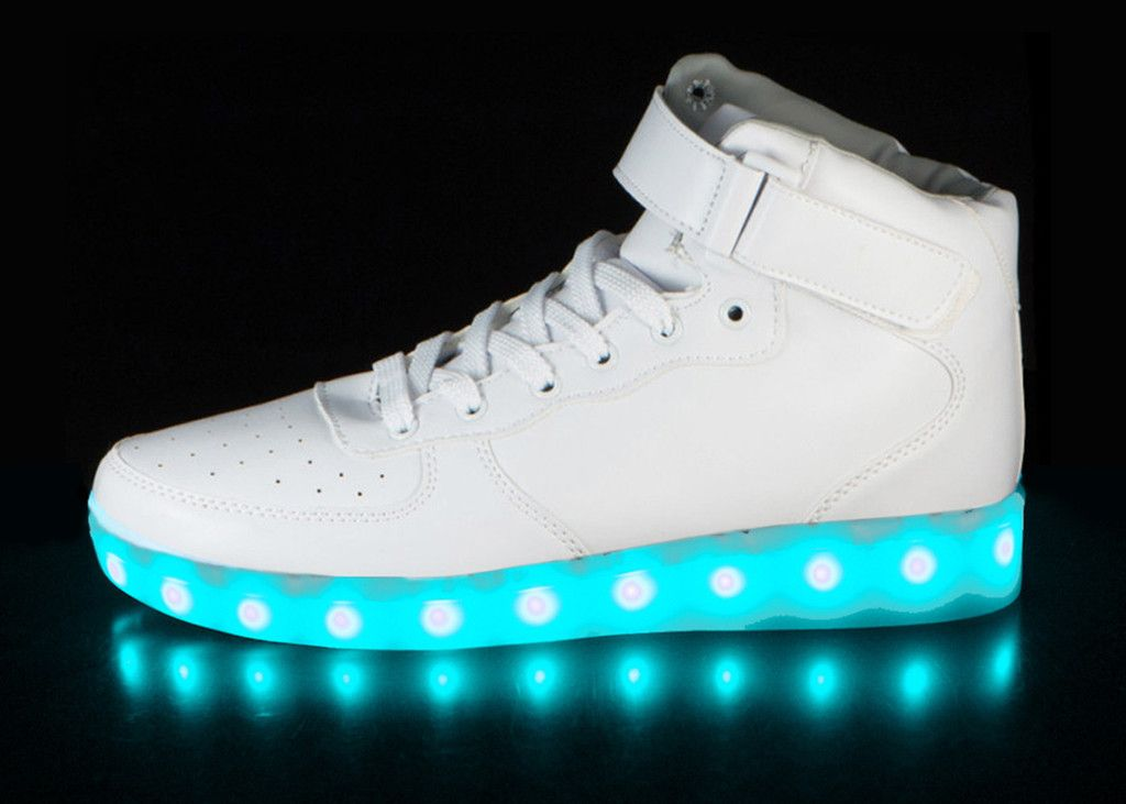Light up shoes available for Men Woman Kids! High-Top shoe with 6 hours of  LED action. Easily USB rechargeable with 5 color changing modes. c137ebe6c