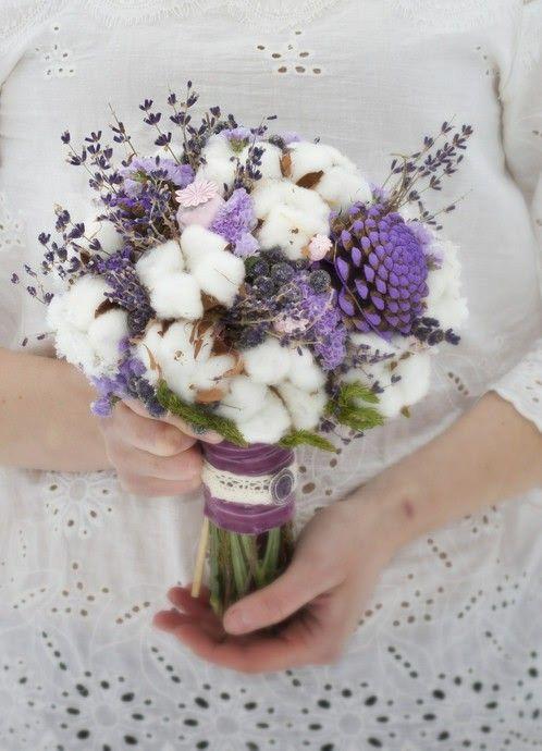 Sweet Wedding Bouquet Lavender Raw White Cotton Coordinating Ingredients Cotton Bouquet Dried Flower Arrangements Dried Flowers Wedding