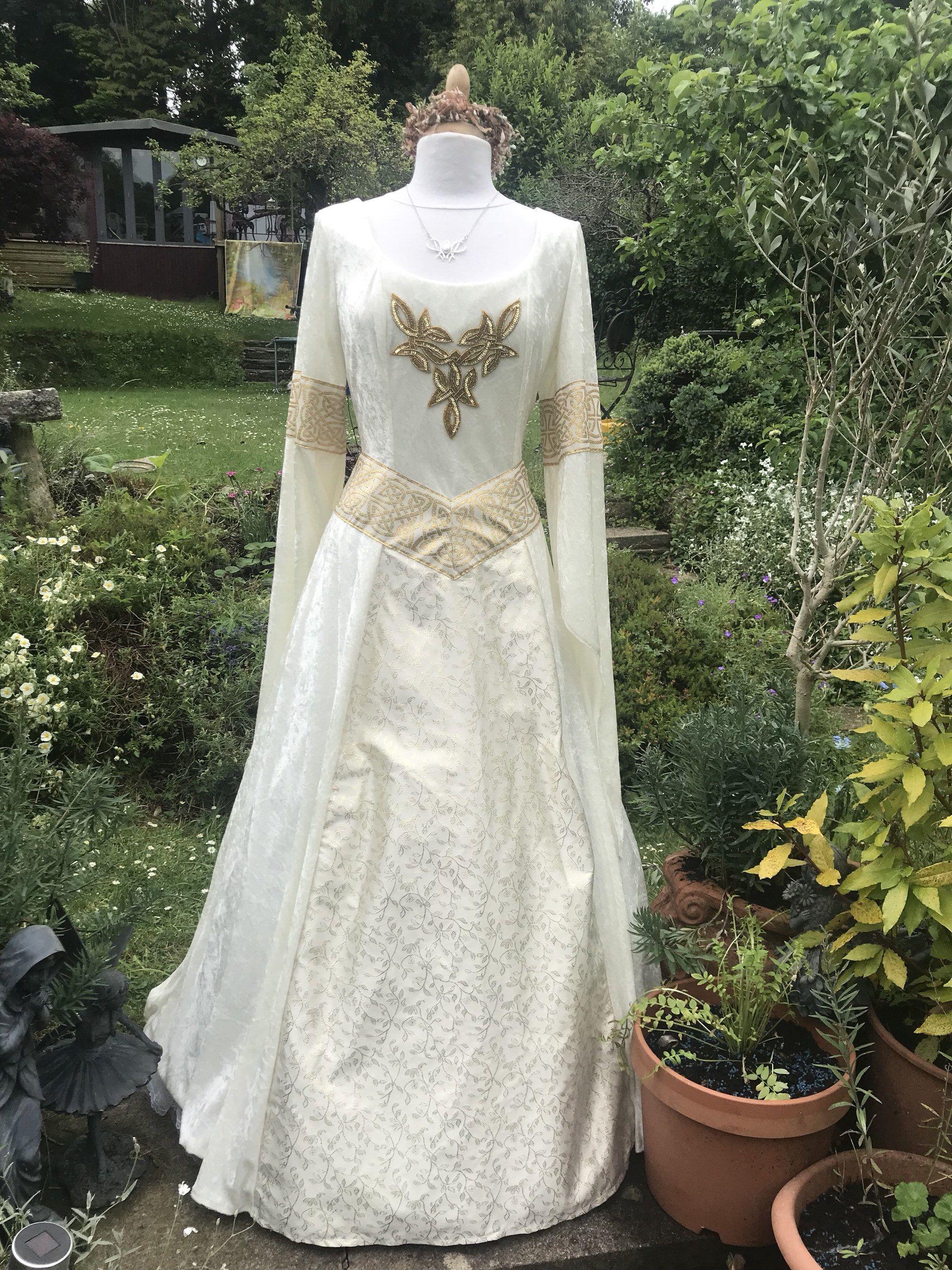 Celtic wedding dress  Celtic Ivory Art Nouveau boho Tudor medieval sca renaissance Celtic