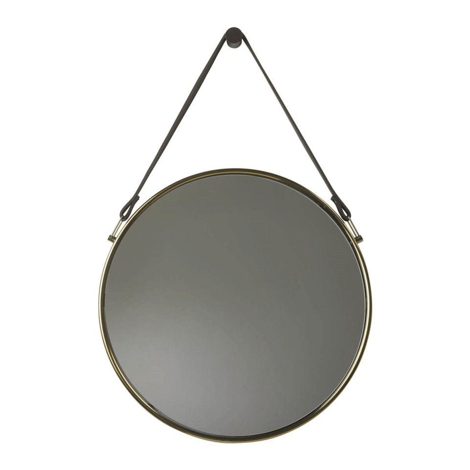 Goldener Spiegel Mit Lederband Wandspiegel Rund Wandspiegel Spiegel