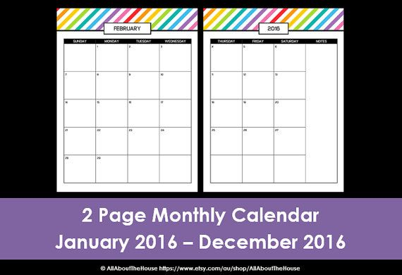 2016 Monthly Planner Printable Calendar Rainbow PDF Daily Planner   Downloadable  Daily Planner  Downloadable Daily Planner