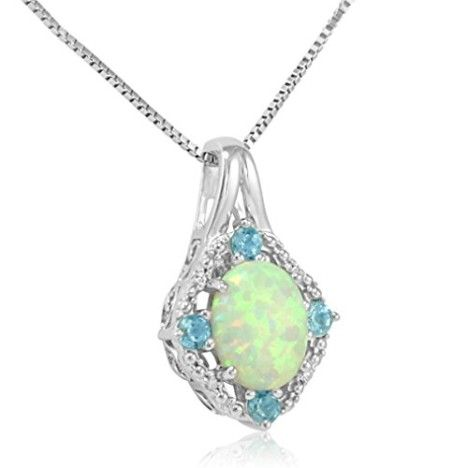 Sterling Silver Created Opal with Sky Blue Topaz and Diamond Pendant-Necklace