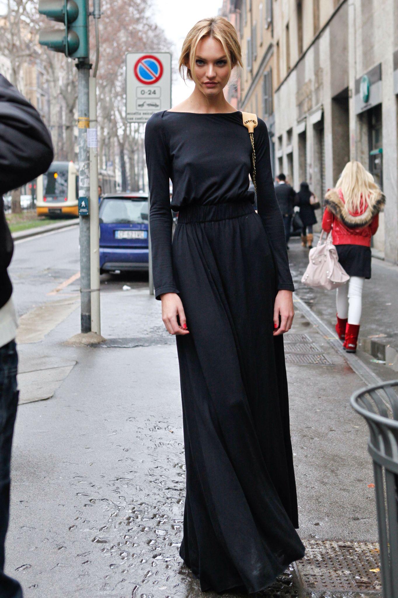 Candice swanepoel long black dress