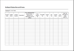 Refund Claim Record Form Download At HttpWwwTemplateinnCom