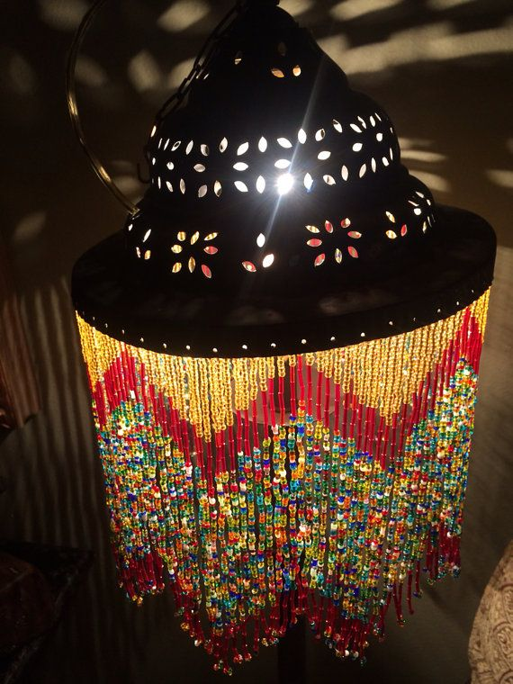 Antique vintage handmade moroccan style beaded hanging chandelier antique vintage handmade moroccan style beaded hanging chandelier light lamp lighting hanging lamp aloadofball Choice Image