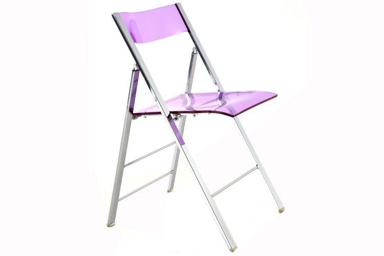 Chaise Pliante Plexiglas Design Modle Bleu Transparent Ou Violet Disposition