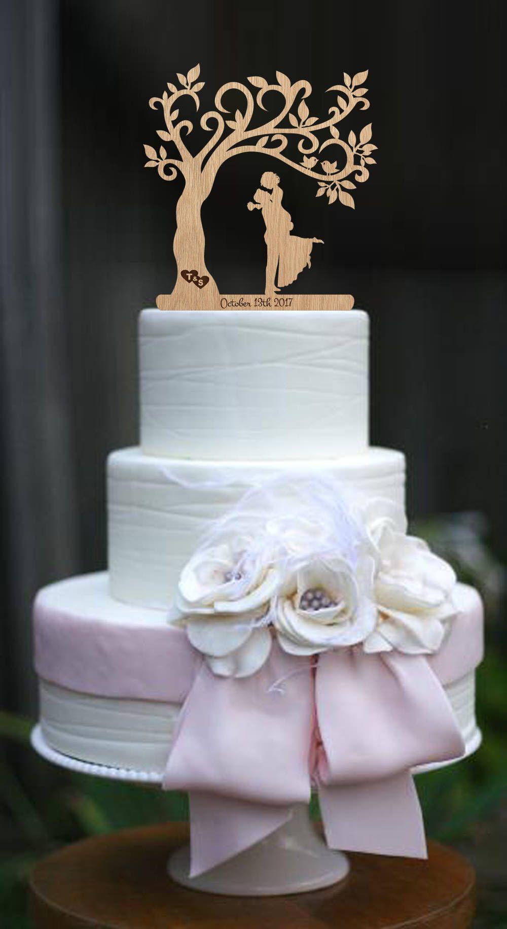 Wedding cake topper rustic cake topper custom cake topper wood cake