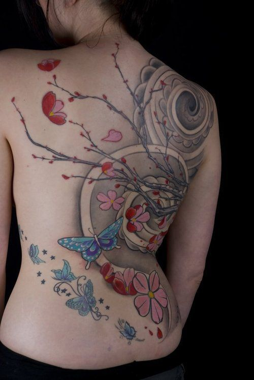 32cd9c749f28d grey cherry blossom tattoo sleeve background | Cool Cherry Blossom Branch  Tattooed spiral idea for background