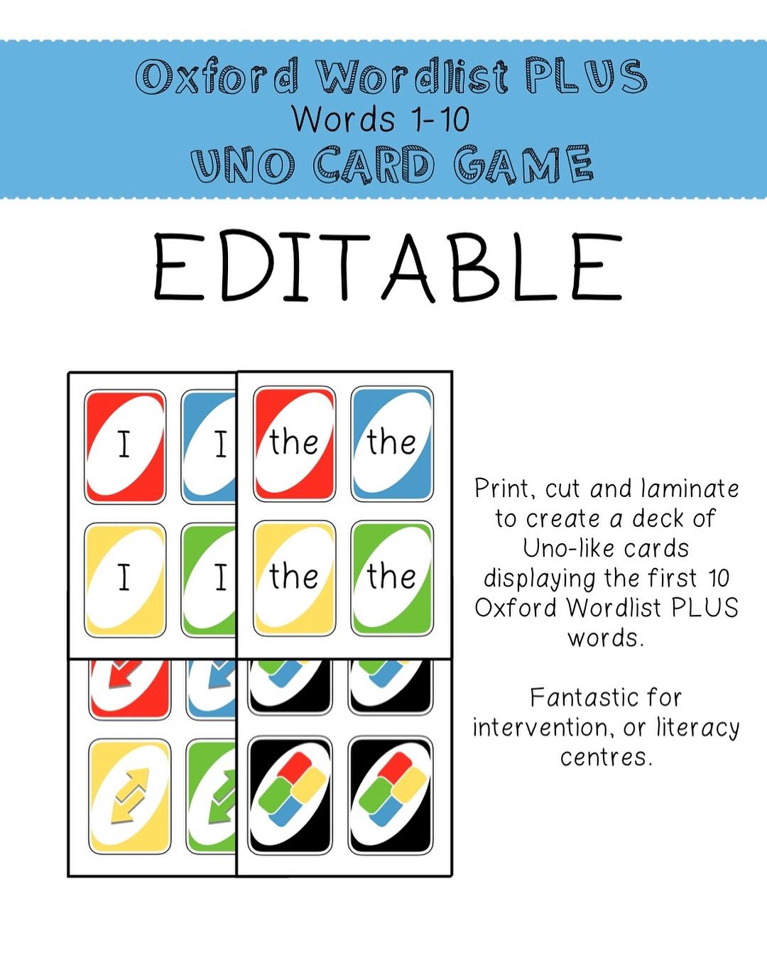 Editable Uno Like Cards For Sight Word Practice 3 Sight Words Word Activities Classroom