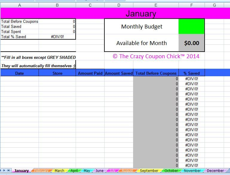 grocery spreadsheet
