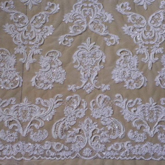 fuera de lentejuelas de cuentas pesadas blancas perlas tela del cordón del vestido de boda/noche 55