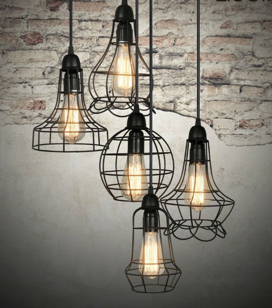 Urban Barn Rustic Style Cage Light Chandelier Pendant Fixture ...