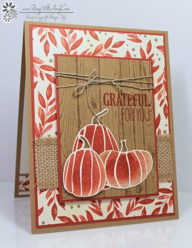 card pumpkin fall autumn thanksgiving halloween woodgrain Fall Fest 2 - Stamp With Amy K halloween, autumn #pumpkin leaves