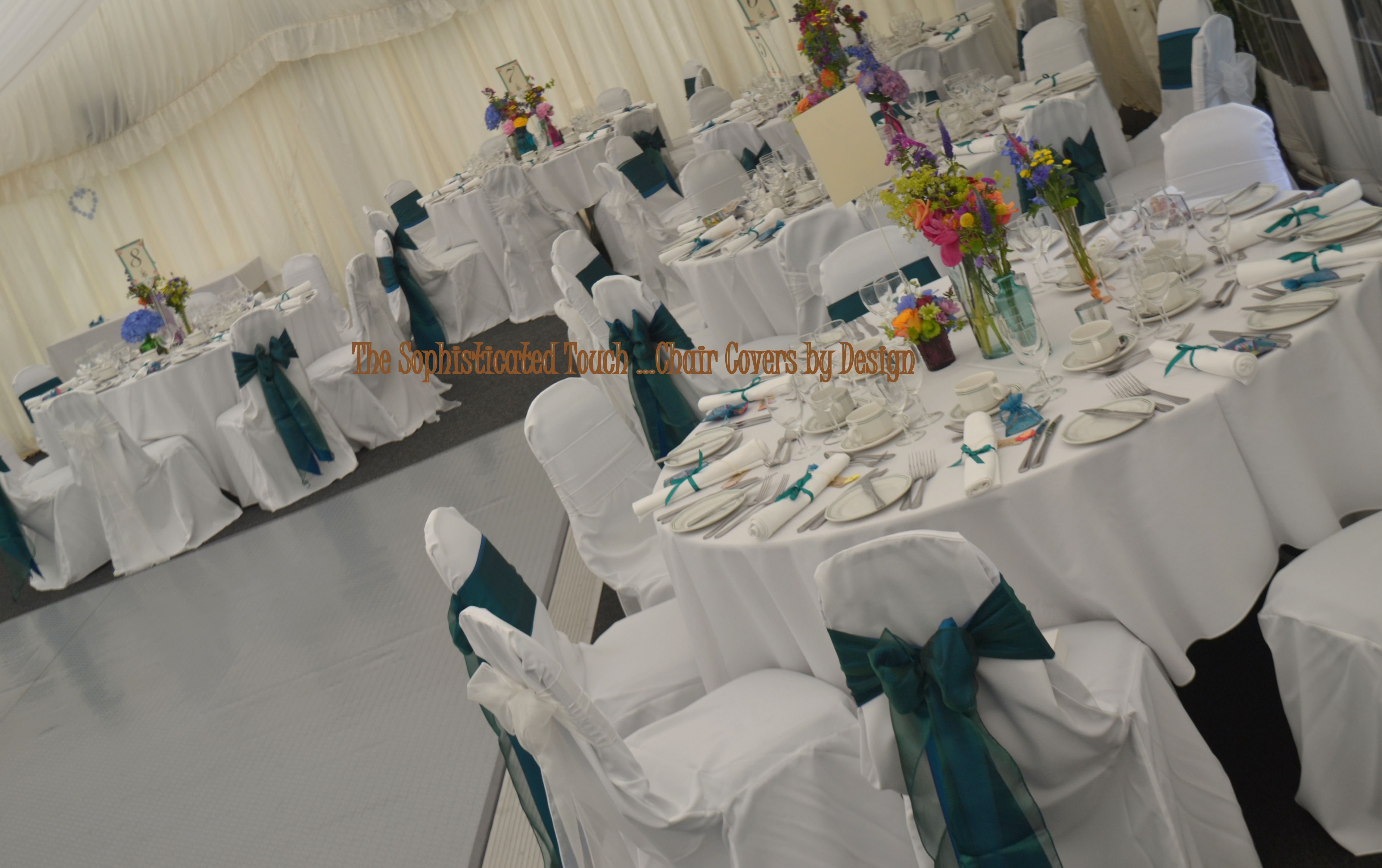 Amazing White Chair Covers With Alternating Double Teal Satin And Caraccident5 Cool Chair Designs And Ideas Caraccident5Info