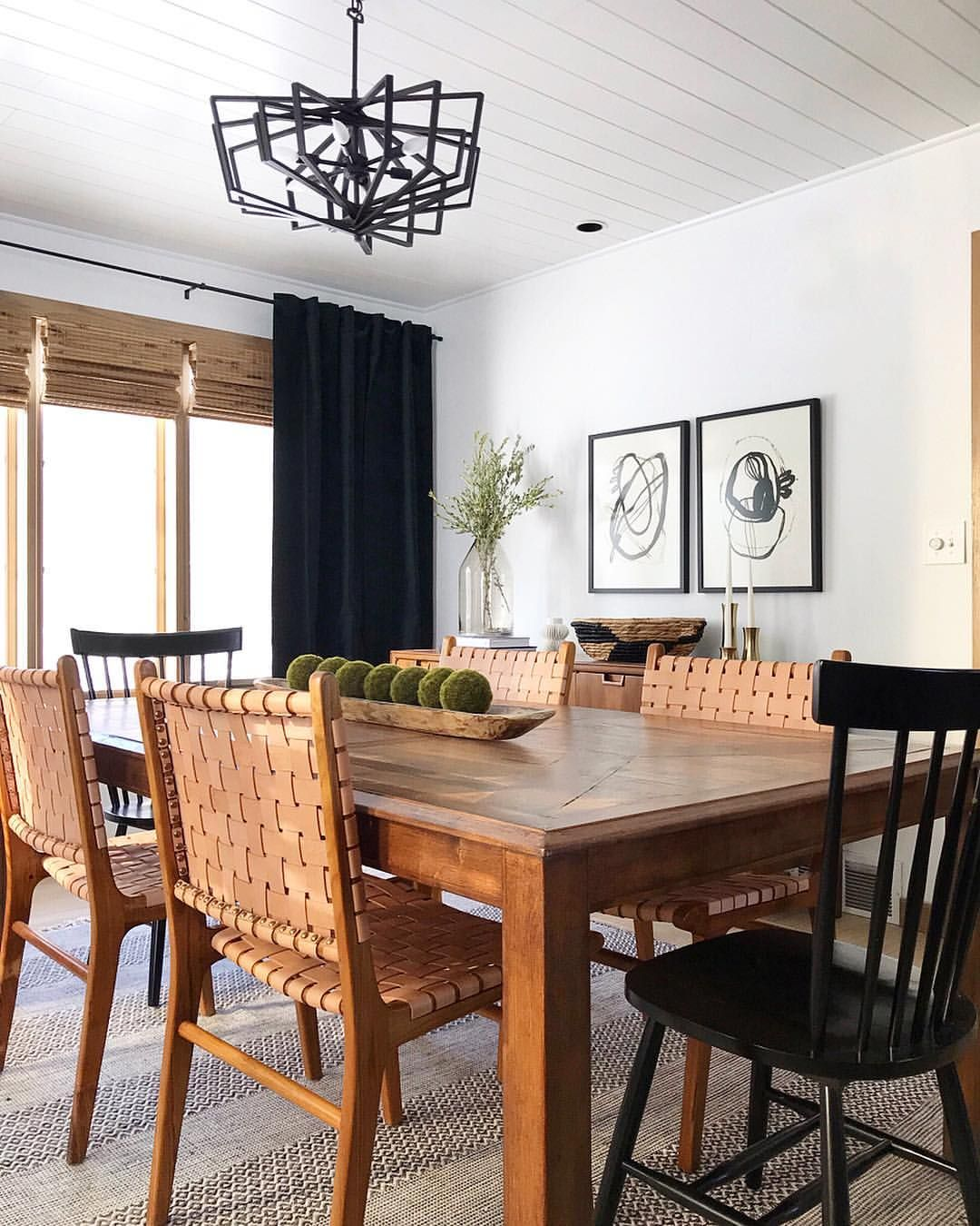 Casual Dining Room Centerpiece Ideas: Modern Dining Room With Woven Leather Chairs And Buffet