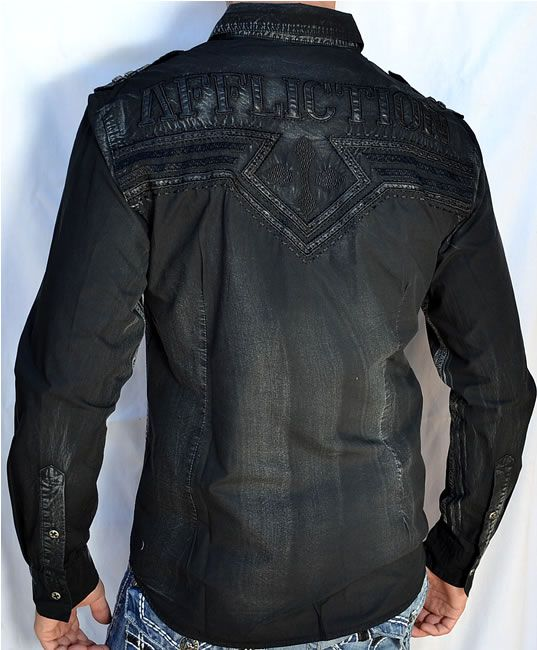 RAW STATE by AFFLICTION mens long sleeve BUTTON DOWN shirt BLACK ...