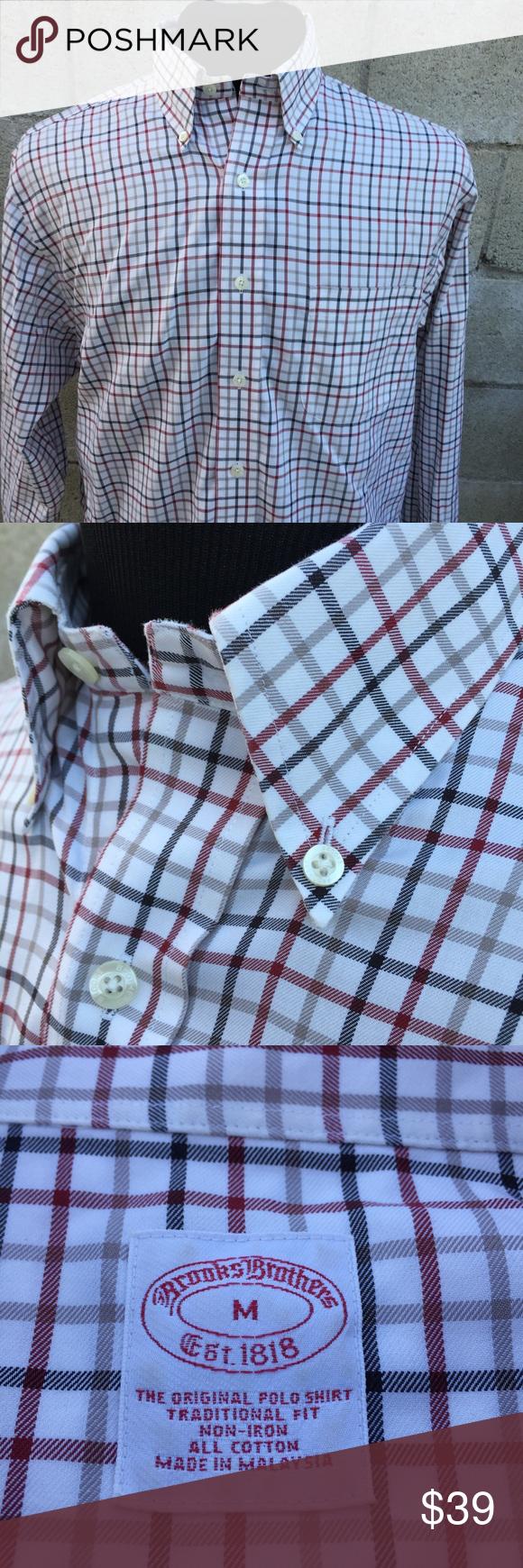 Green checkered dress shirt  Brooks Brothers Non Iron Checkered Oxford Shirt M  Oxford shirts