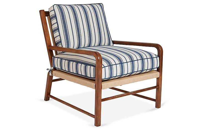 Best Miramar Accent Chair Blue Stripe Mark D Sikes 400 x 300