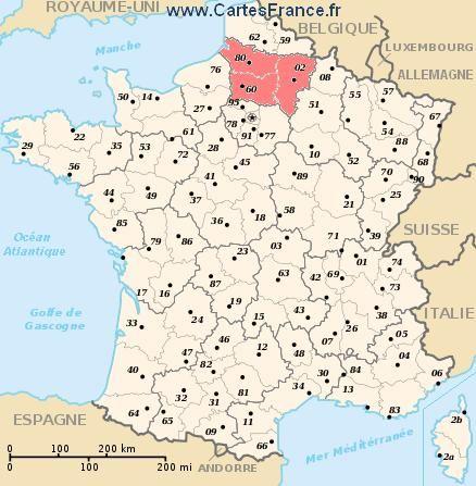 carte region Picardie   Cartes de France   Pinterest   France
