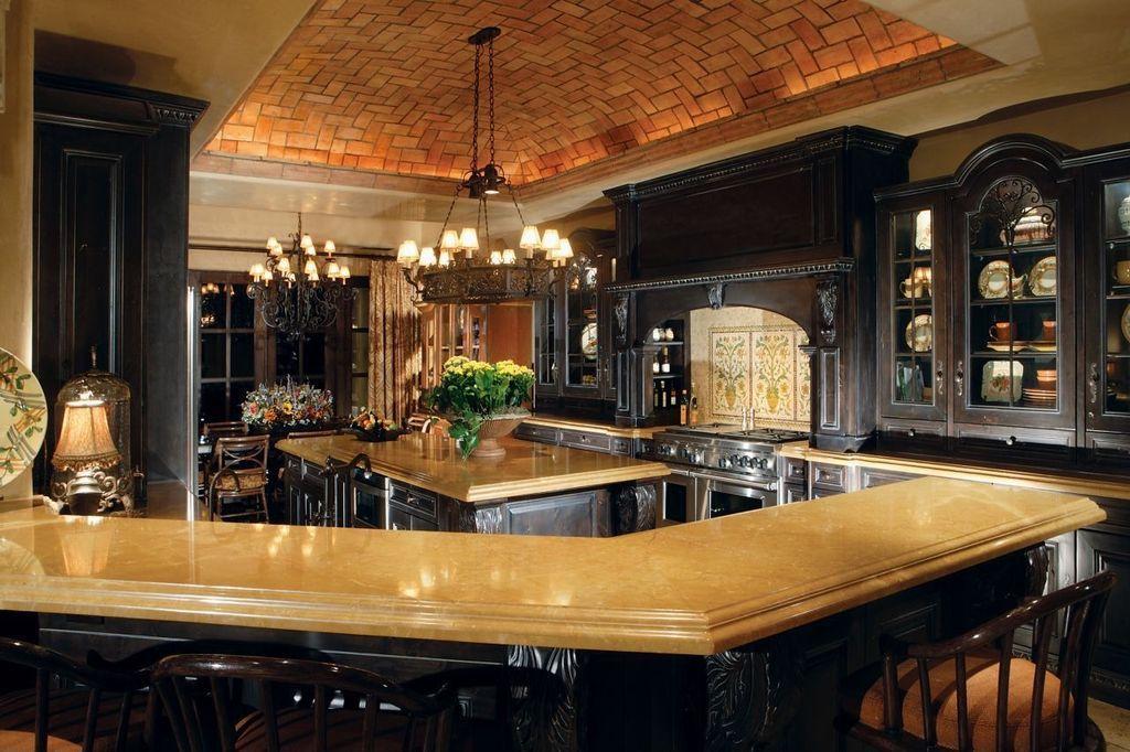 Mediterranean Kitchen With Woodbridge Home Designs Deryn Park Hutch,  Breakfast Nook, Glass Panel,
