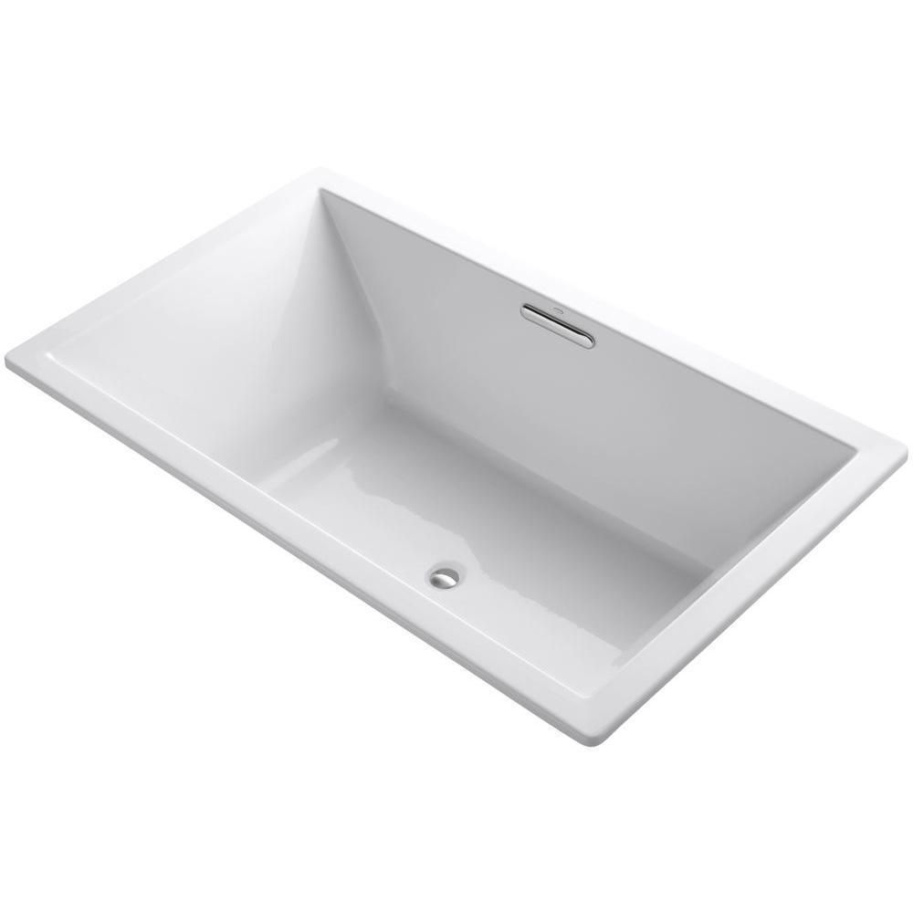 Exude Refined Style With Contemporary Flair By Choosing This Durable Kohler Underscore Center Drain Soaking Tub In White
