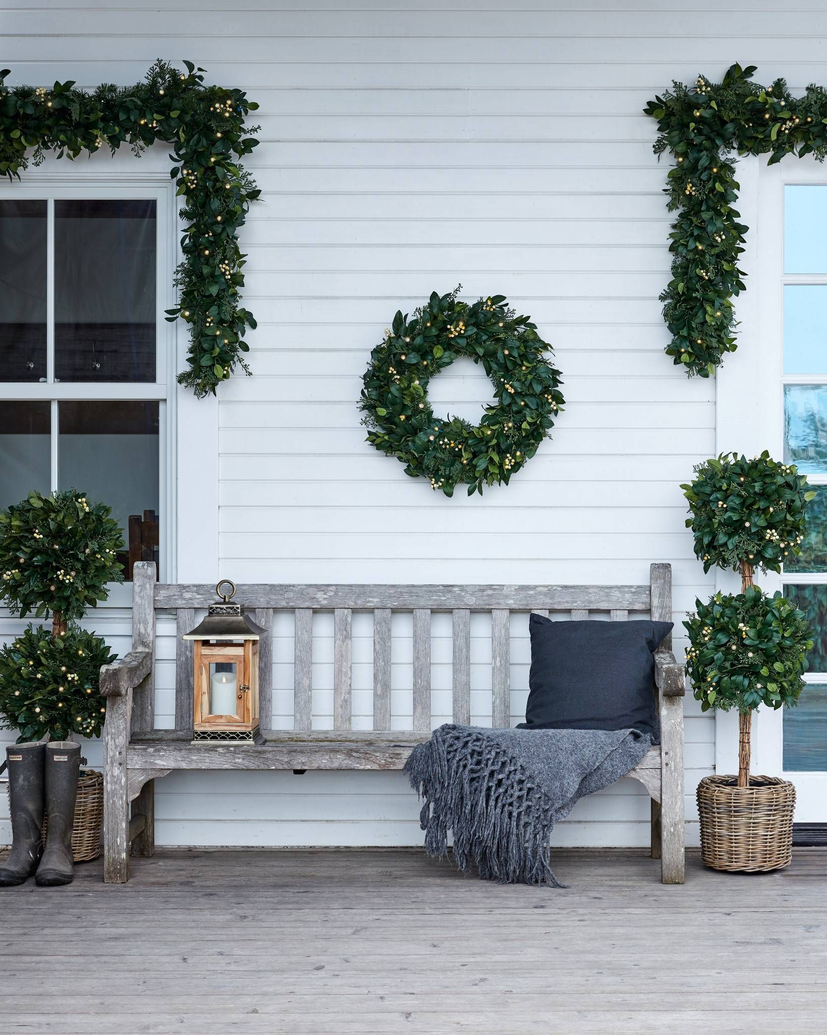 White Berry Cypress Foliage Balsam Hill In 2020 Outdoor Decor Front Porch Decorating Porch Decorating