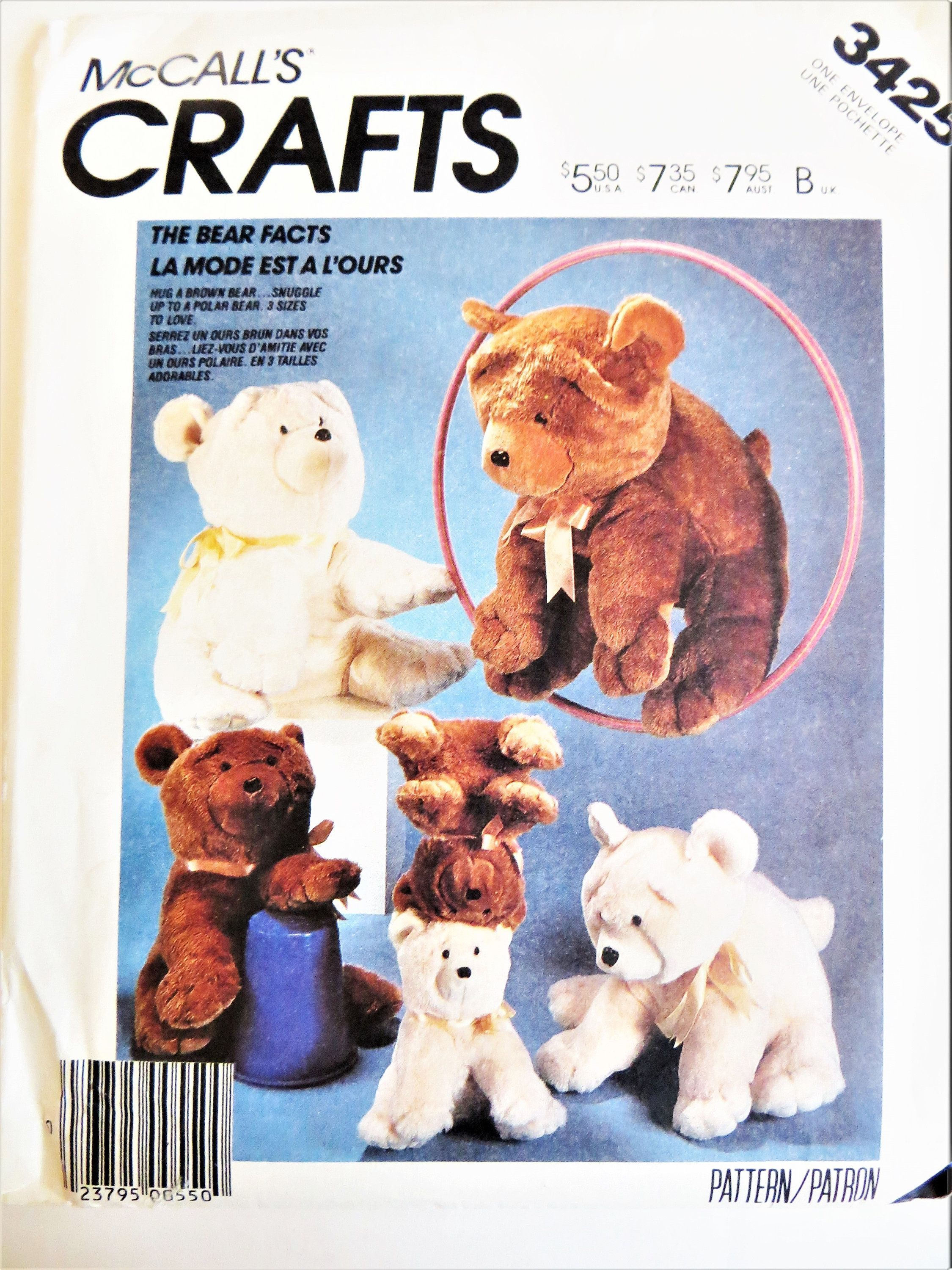 Mccall S Teddy Bear Sewing Pattern 3 Sizes Small