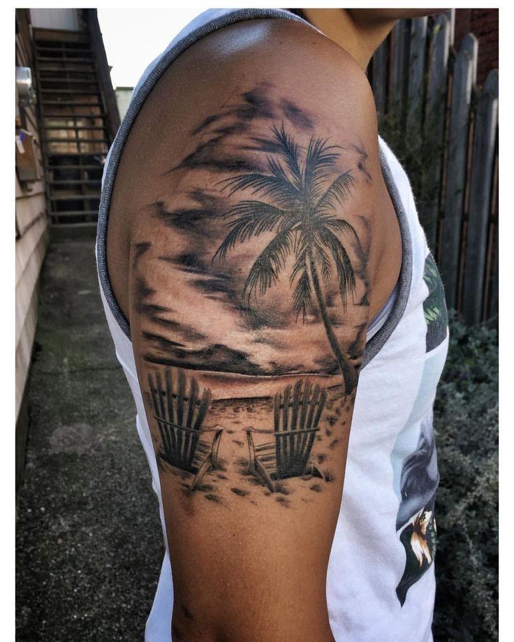 image result for beach half sleeve tattoo tatoos pinterest palmen tattoo tattoo ideen und. Black Bedroom Furniture Sets. Home Design Ideas