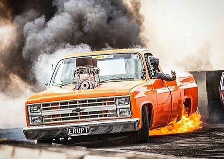 Orange Squarebody Erupt Flaming Burnout With Images Chevy