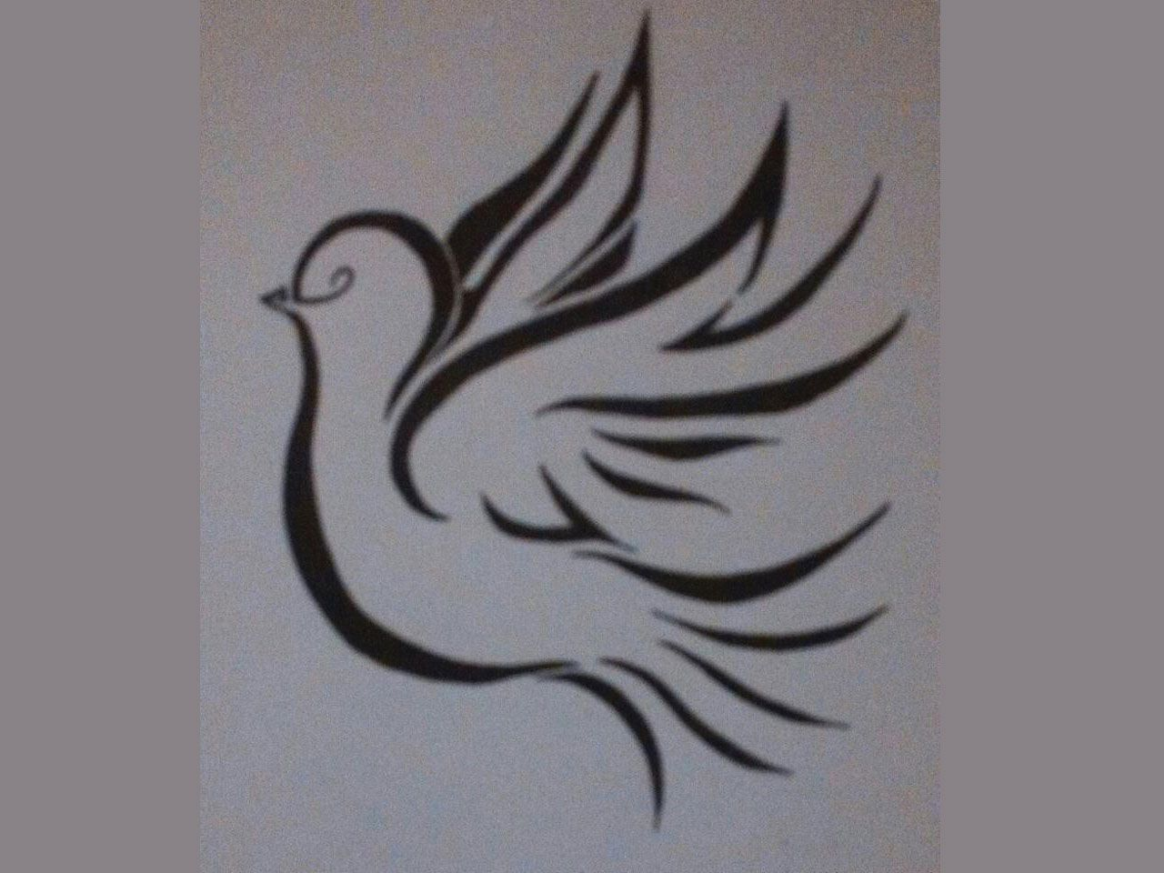 Free designs - Simple tribal dove with tail and wings ...