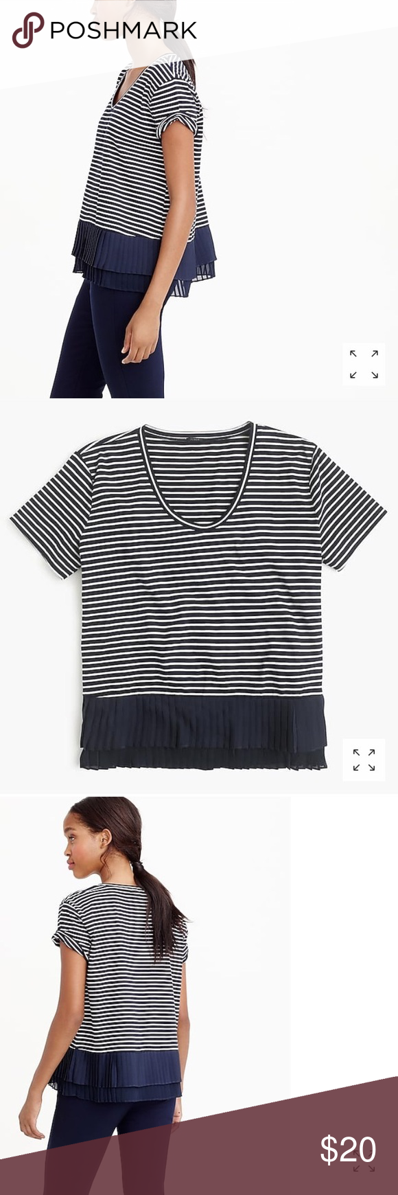 a136fa32 J. Crew Women's Pleated Chiffon Hem T-Shirt Navy and white striped pleated  Chiffon t-shirt. New without tags! J. Crew Tops Tees - Short Sleeve